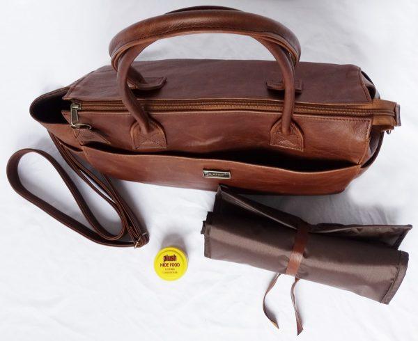 Jan Pierewiet   Peaking Patrys   Large Pecan Leather Diaper Bag