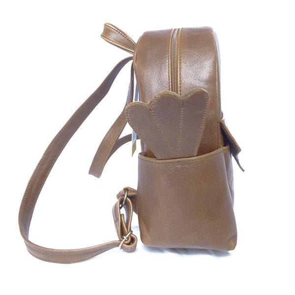 Tink Tinkie | Pecan Leather Toddler backpack by Jan Pierewiet watterbottle side pocket