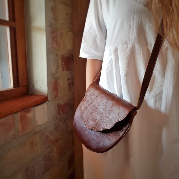 Scalloped Clutch Crossbody Leather Bag