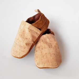 Trapsoetjies pecan leather and cork moccasins