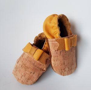 Yellow Leather & Cork Moccasins