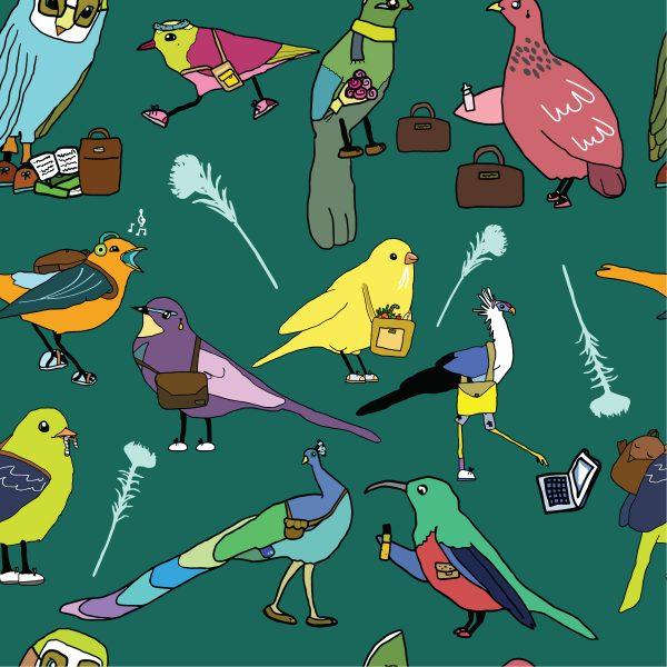 Jan Pierewiet Imaginary Birds lining Emeral Green Background
