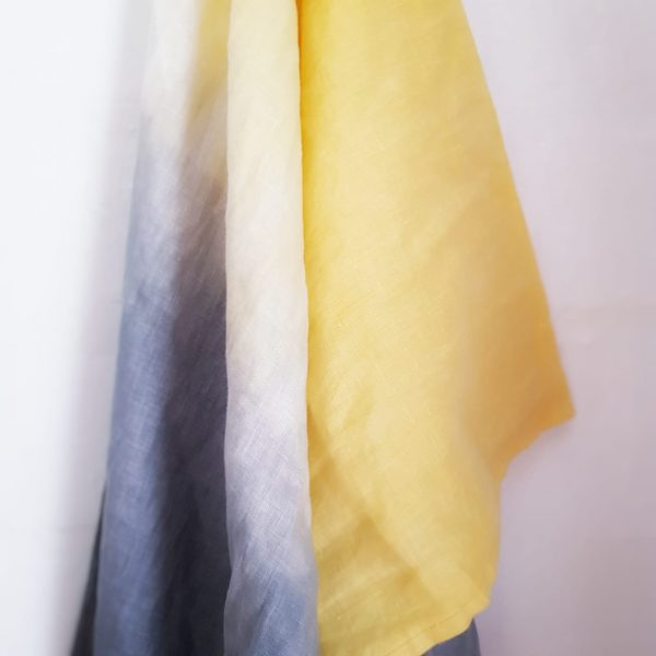 Linen Scarf   Artisan   Hand dyed and Hand Emboidery